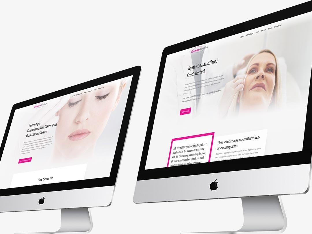 Hjemmesiden til Cosmeticaklinikken vist på to iMac-modeller