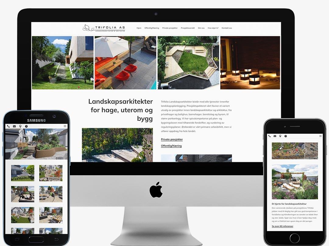 Hjemmesiden til Trifolia vist på en iMac, en Samsung-telefon og en iPhone
