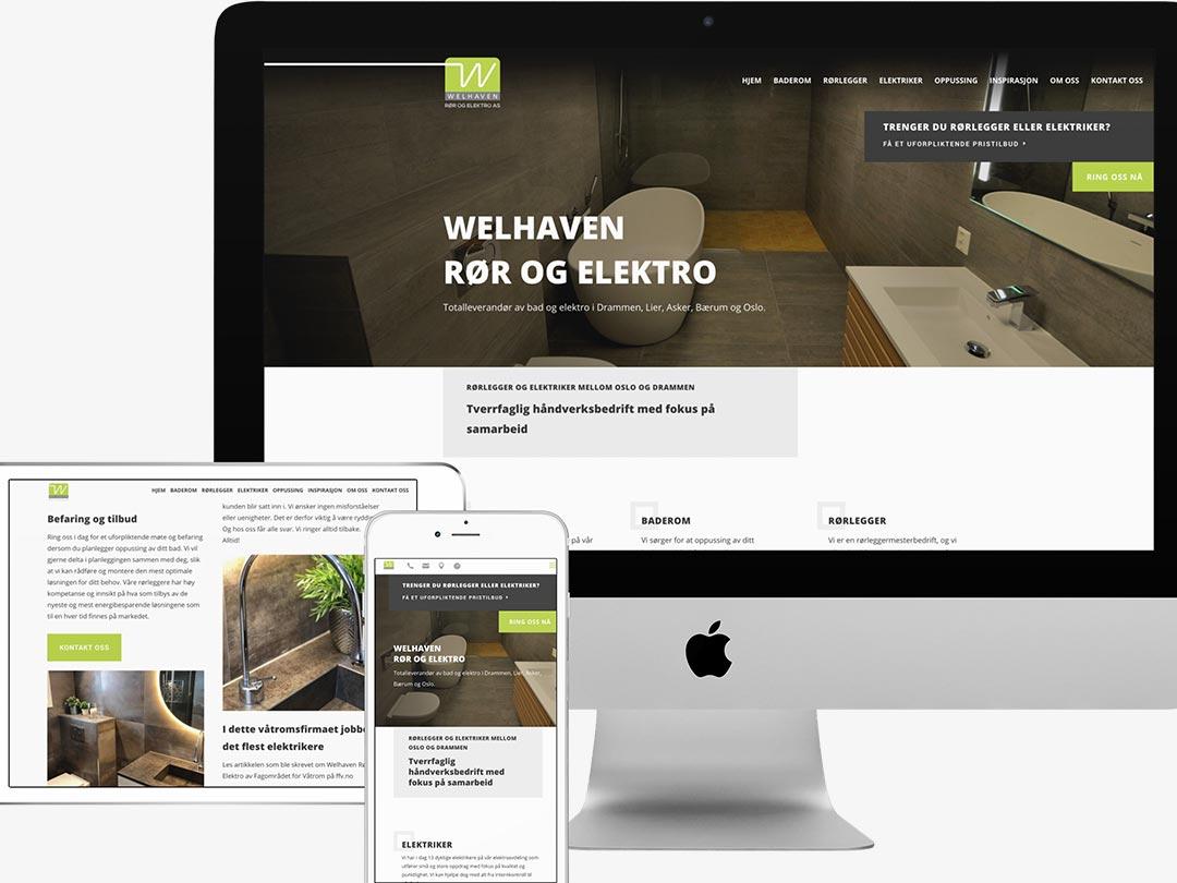 Hjemmesiden til Welhaven Rør og Elektro  vist på en iPhone, en iPad og en iMac