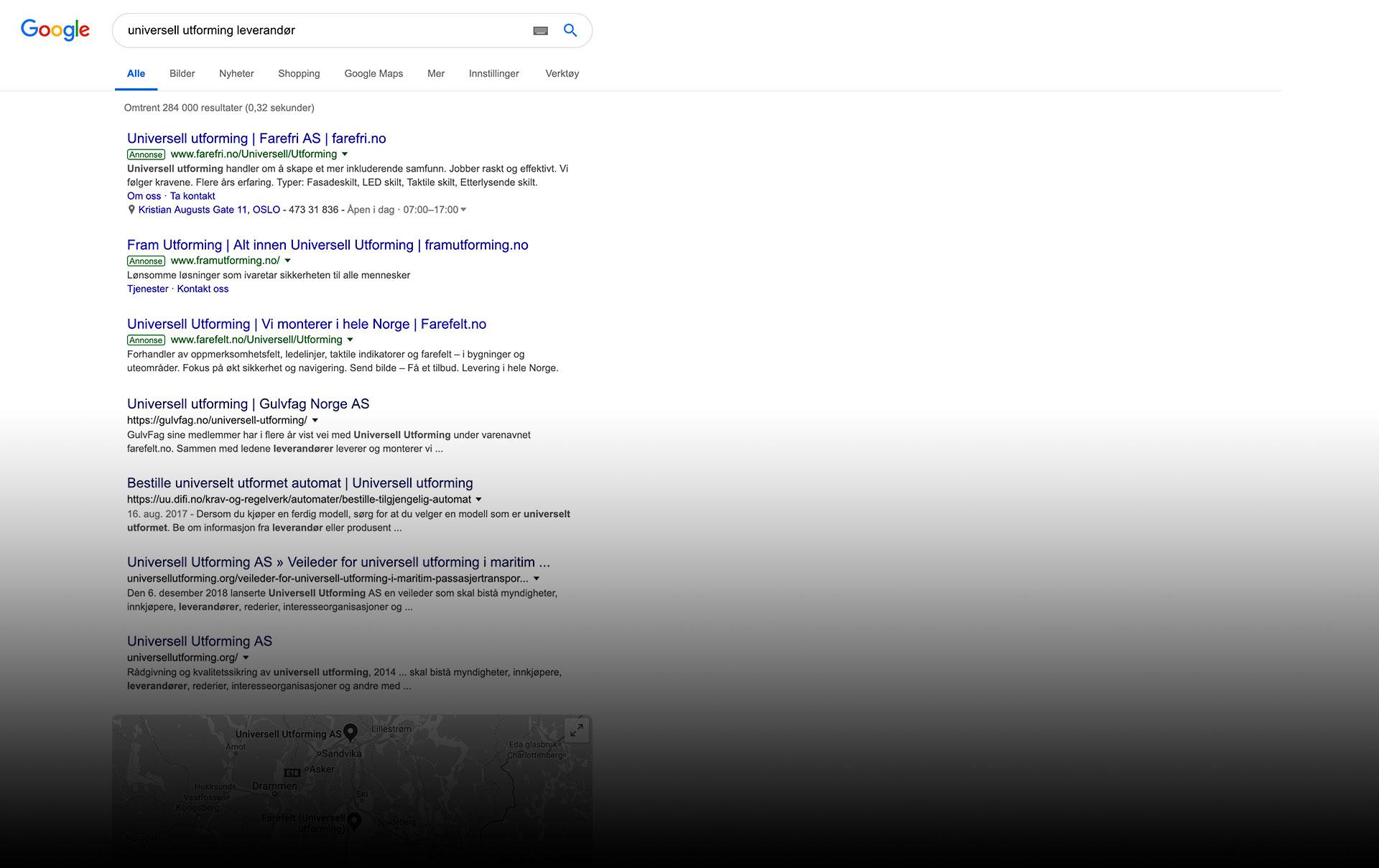 resultater i google med google annonsering